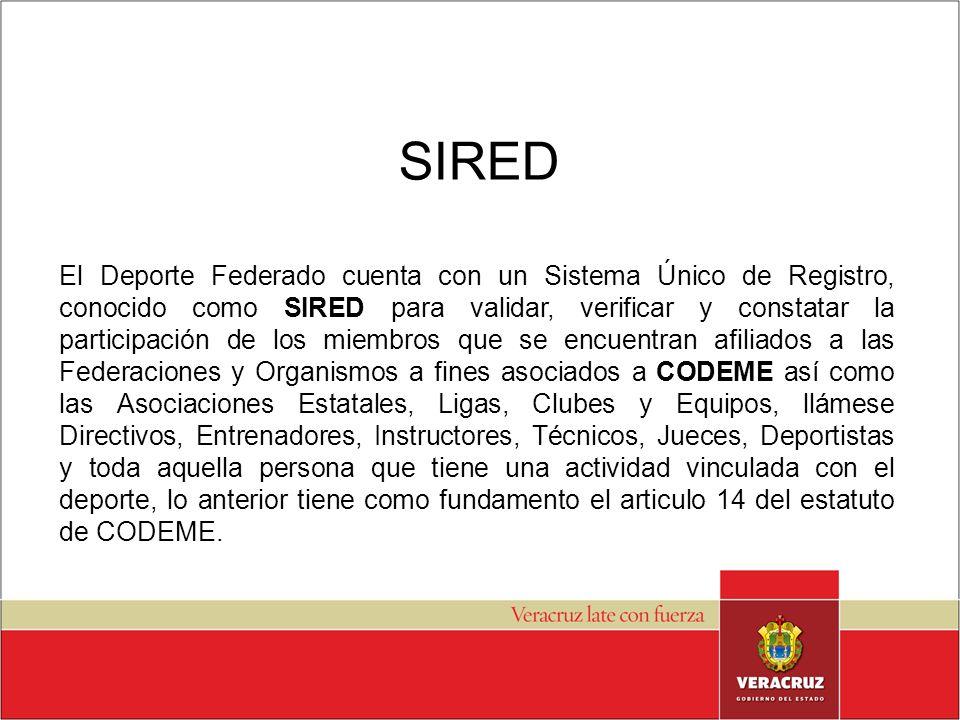 SIRED El SIRED tiene dos grandes vertientes, a saber: El Registro de: los miembros Individuales, Clubes, Ligas, Asociaciones y Federaciones de cada deporte.