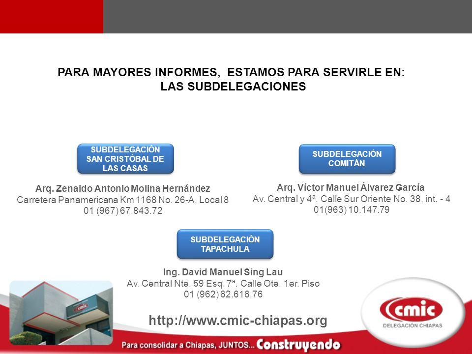 SUBDELEGACIÓN SAN CRISTÓBAL DE LAS CASAS Arq. Zenaido Antonio Molina Hernández Carretera Panamericana Km 1168 No. 26-A, Local 8 01 (967) 67.843.72 SUB
