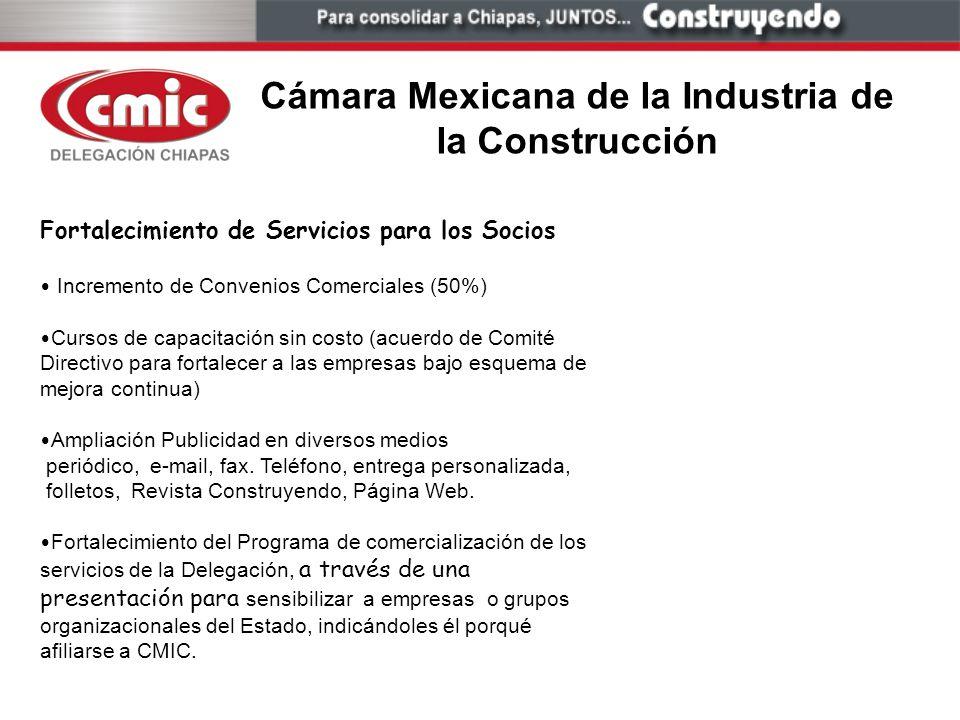 Cámara Mexicana de la Industria de la Construcción Fortalecimiento de Servicios para los Socios Incremento de Convenios Comerciales (50%) Cursos de ca