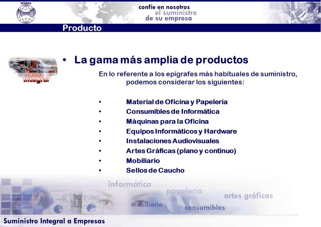Producto En lo referente a los epígrafes más habituales de suministro, podemos considerar los siguientes: Material de Oficina y Papelería Consumibles