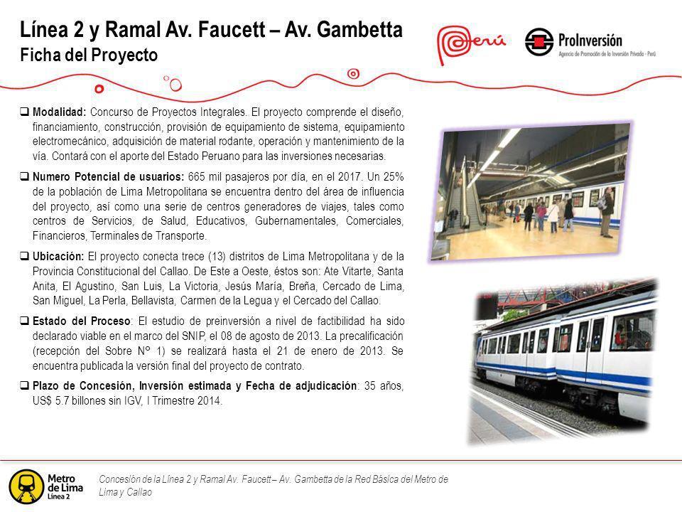 Concesión de la Línea 2 y Ramal Av. Faucett – Av. Gambetta de la Red Básica del Metro de Lima y Callao Línea 2 y Ramal Av. Faucett – Av. Gambetta Fich