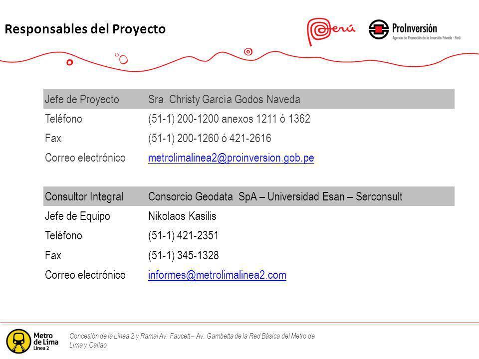 Concesión de la Línea 2 y Ramal Av. Faucett – Av. Gambetta de la Red Básica del Metro de Lima y Callao Responsables del Proyecto Jefe de ProyectoSra.