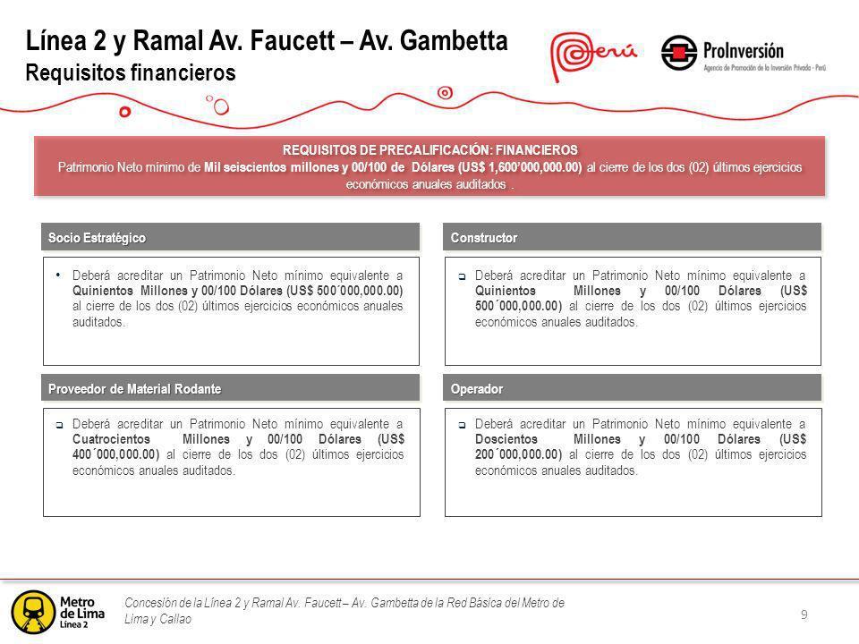 Concesión de la Línea 2 y Ramal Av. Faucett – Av. Gambetta de la Red Básica del Metro de Lima y Callao Línea 2 y Ramal Av. Faucett – Av. Gambetta Requ
