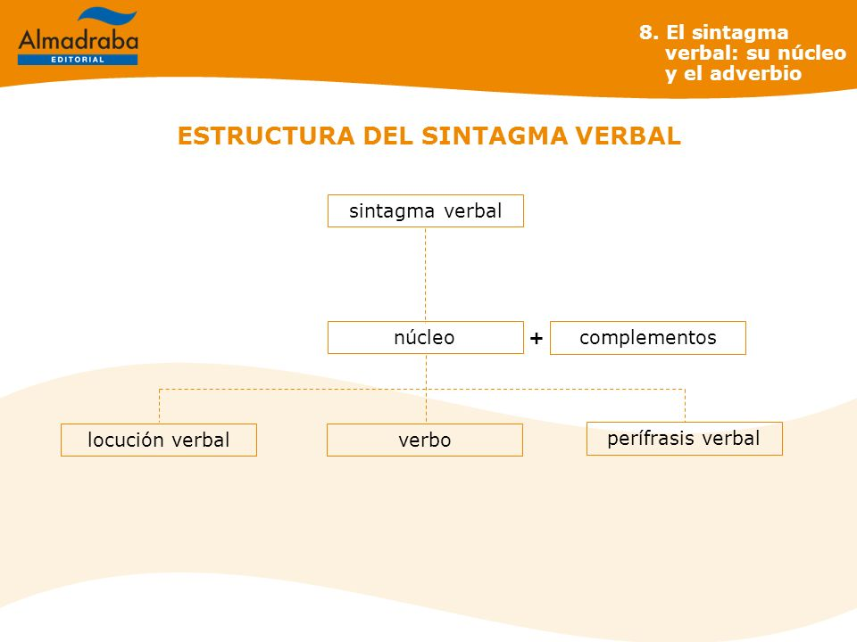 ESTRUCTURA DEL SINTAGMA VERBAL núcleo sintagma verbal perífrasis verbal verbolocución verbal 8. El sintagma verbal: su núcleo y el adverbio complement
