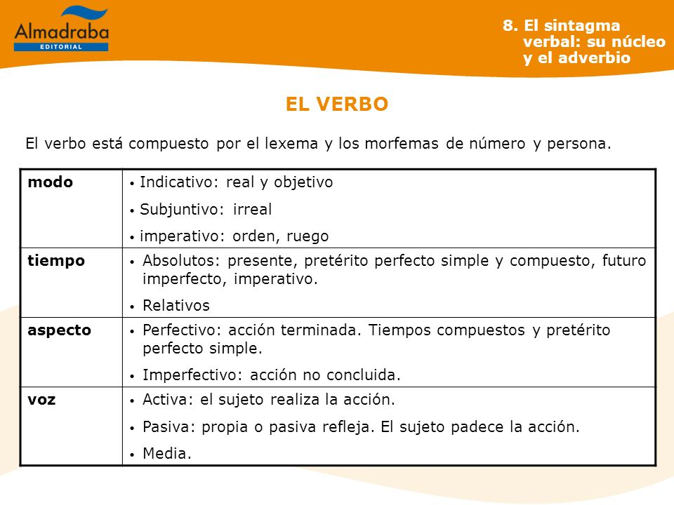 EL VERBO modo Indicativo: real y objetivo Subjuntivo: irreal imperativo: orden, ruego tiempo Absolutos: presente, pretérito perfecto simple y compuest