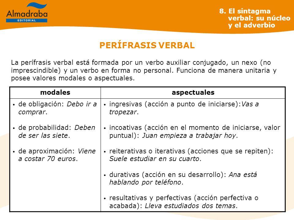 PERÍFRASIS VERBAL La perífrasis verbal está formada por un verbo auxiliar conjugado, un nexo (no imprescindible) y un verbo en forma no personal. Func