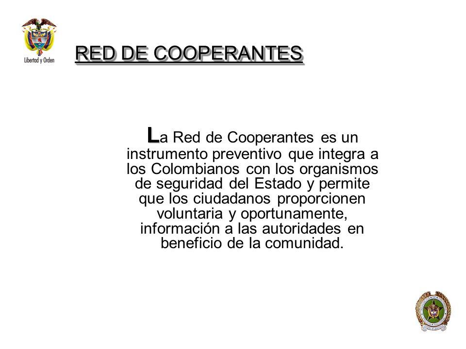 RED DE COOPERANTES L L a Red de Cooperantes es un instrumento preventivo que integra a los Colombianos con los organismos de seguridad del Estado y pe