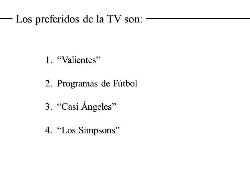 Los preferidos de la TV son: 1. Valientes 1. Valientes 2. Programas de Fútbol 2. Programas de Fútbol 3. Casi Ángeles 3. Casi Ángeles 4. Los Simpsons 4