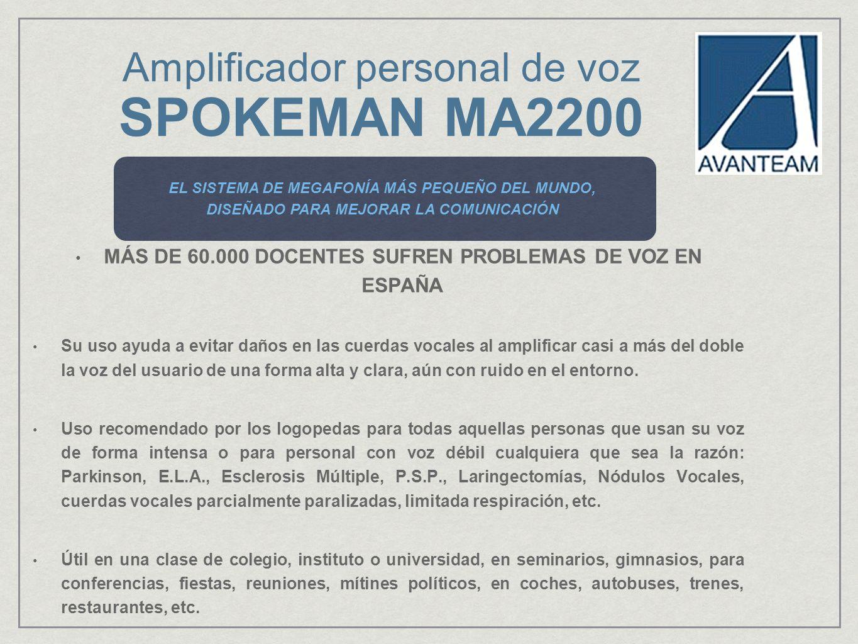 Amplificador personal de voz SPOKEMAN MA2200 El mejor material didáctico para las aulas, con la mejor relación calidad de sonido - tamaño.