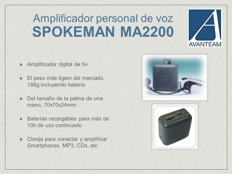 Amplificador personal de voz SPOKEMAN MA2200 Amplificador digital de 5v El peso más ligero del mercado, 188g incluyendo batería Del tamaño de la palma