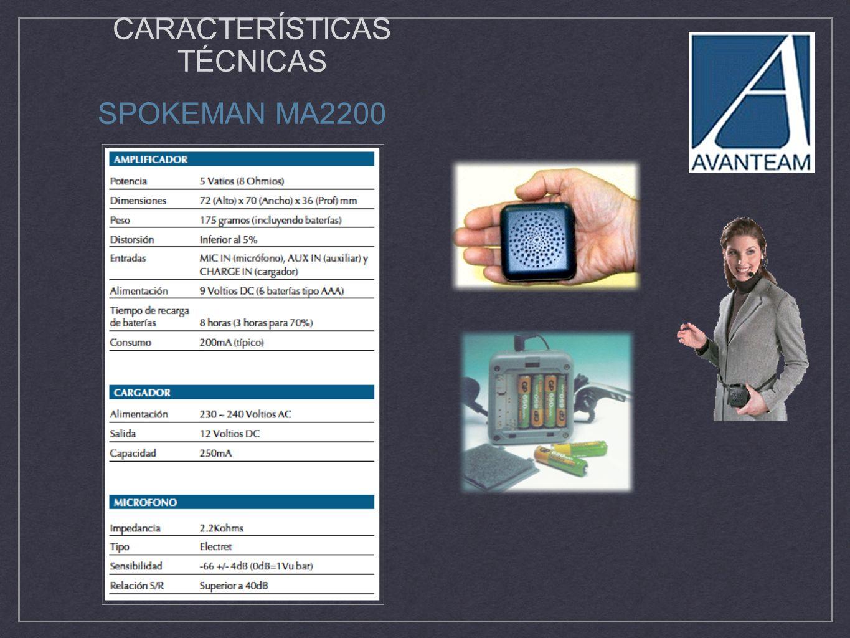CARACTERÍSTICAS TÉCNICAS SPOKEMAN MA2200