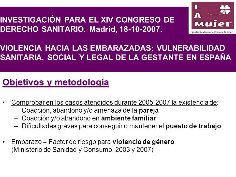 INVESTIGACIÓN PARA EL XIV CONGRESO DE DERECHO SANITARIO. Madrid, 18-10-2007. VIOLENCIA HACIA LAS EMBARAZADAS: VULNERABILIDAD SANITARIA, SOCIAL Y LEGAL