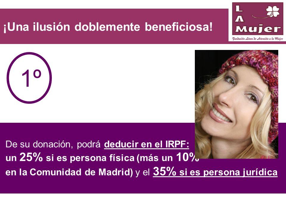 De su donación, podrá deducir en el IRPF: un 25% si es persona física (más un 10% en la Comunidad de Madrid) y el 35% si es persona jurídica ¡Una ilus
