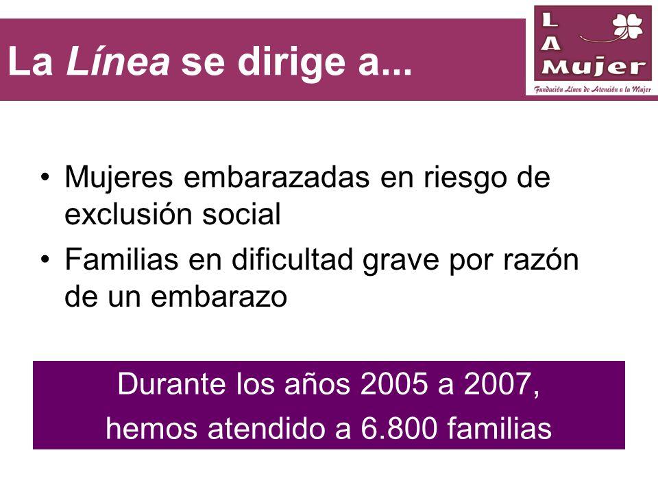La Línea se dirige a... Mujeres embarazadas en riesgo de exclusión social Familias en dificultad grave por razón de un embarazo Durante los años 2005