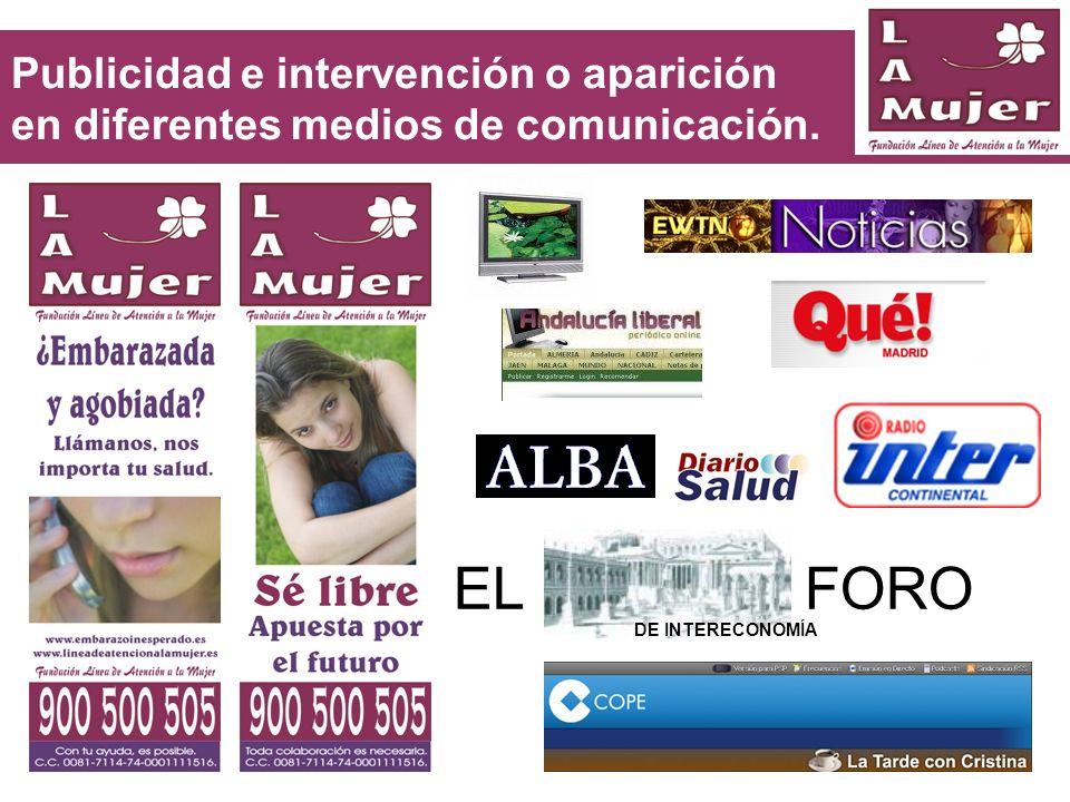 Publicidad e intervención o aparición en diferentes medios de comunicación. EL FORO DE INTERECONOMÍA