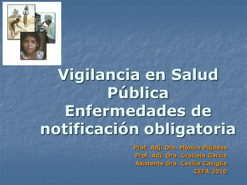 Vigilancia en Salud Pública Enfermedades de notificación obligatoria Prof. Adj. Dra. Mónica Pujadas Prof. Adj. Dra. Graciela García Asistente Dra. Cec
