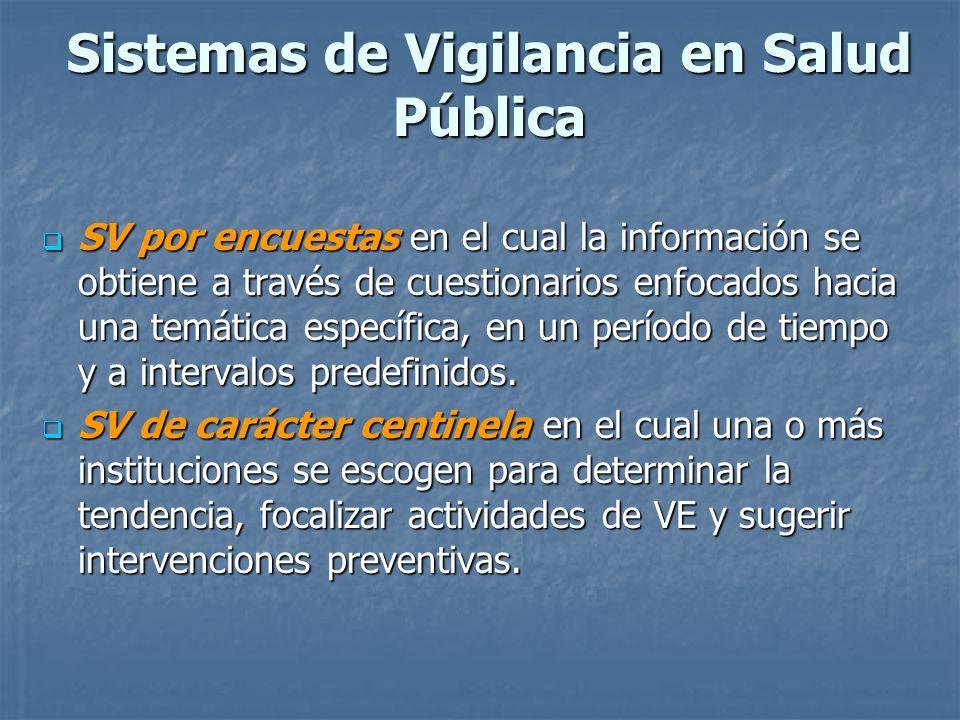 Sistemas de Vigilancia en Salud Pública SV por encuestas en el cual la información se obtiene a través de cuestionarios enfocados hacia una temática e