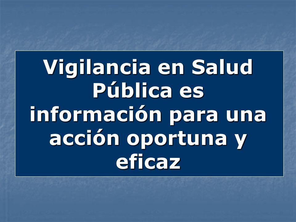 Vigilancia en Salud Pública es información para una acción oportuna y eficaz