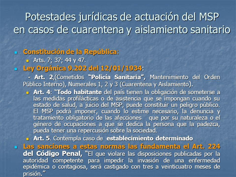 Potestades jurídicas de actuación del MSP en casos de cuarentena y aislamiento sanitario Constitución de la República: Constitución de la República: A