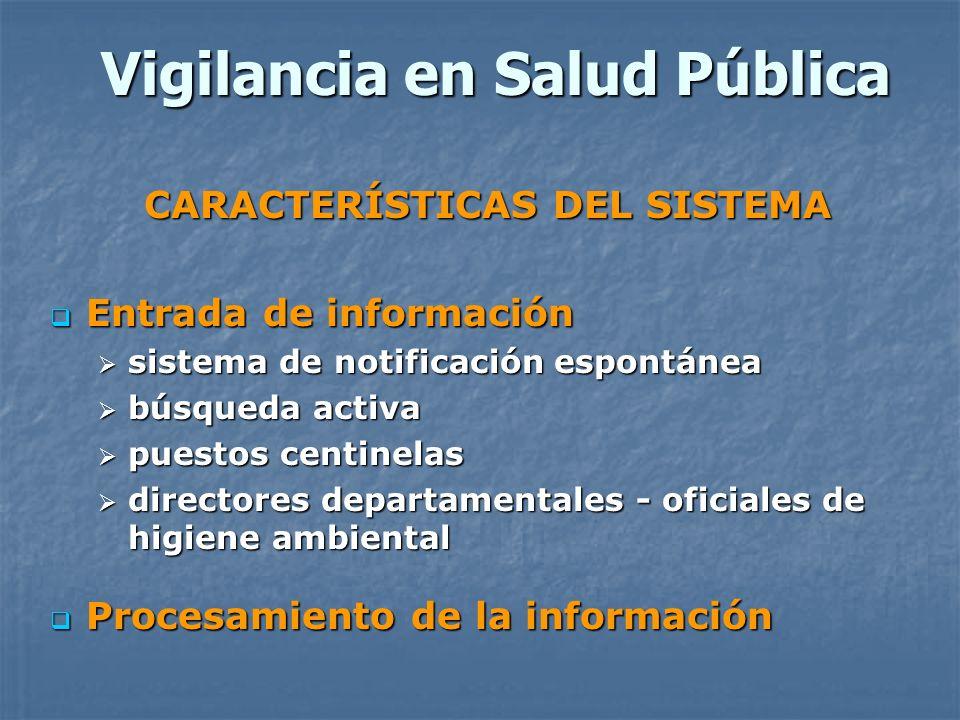 Vigilancia en Salud Pública CARACTERÍSTICAS DEL SISTEMA Entrada de información Entrada de información sistema de notificación espontánea sistema de no