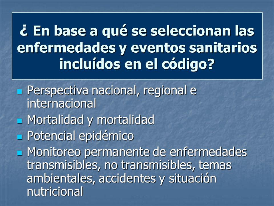 ¿ En base a qué se seleccionan las enfermedades y eventos sanitarios incluídos en el código? Perspectiva nacional, regional e internacional Perspectiv