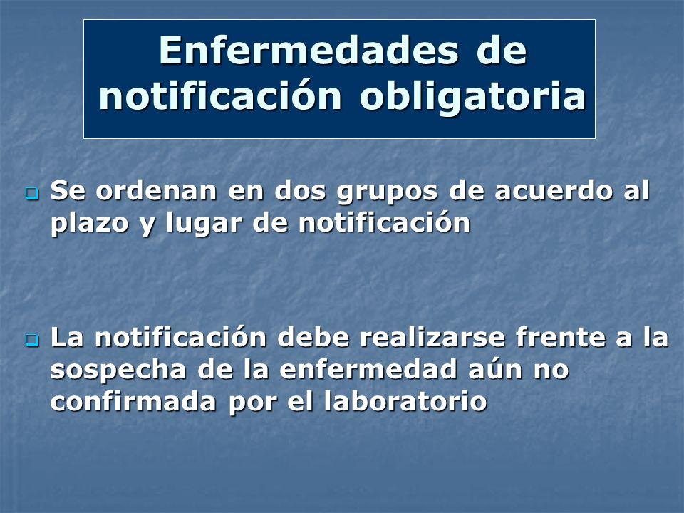 Enfermedades de notificación obligatoria Se ordenan en dos grupos de acuerdo al plazo y lugar de notificación Se ordenan en dos grupos de acuerdo al p