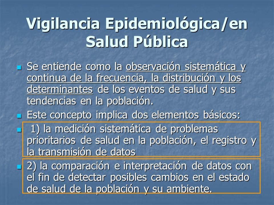 Vigilancia Epidemiológica/en Salud Pública Se entiende como la observación sistemática y continua de la frecuencia, la distribución y los determinante