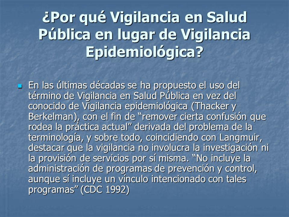 ¿Por qué Vigilancia en Salud Pública en lugar de Vigilancia Epidemiológica? En las últimas décadas se ha propuesto el uso del término de Vigilancia en