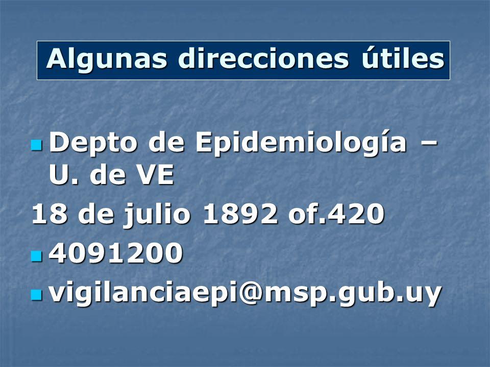 Algunas direcciones útiles Depto de Epidemiología – U. de VE Depto de Epidemiología – U. de VE 18 de julio 1892 of.420 4091200 4091200 vigilanciaepi@m