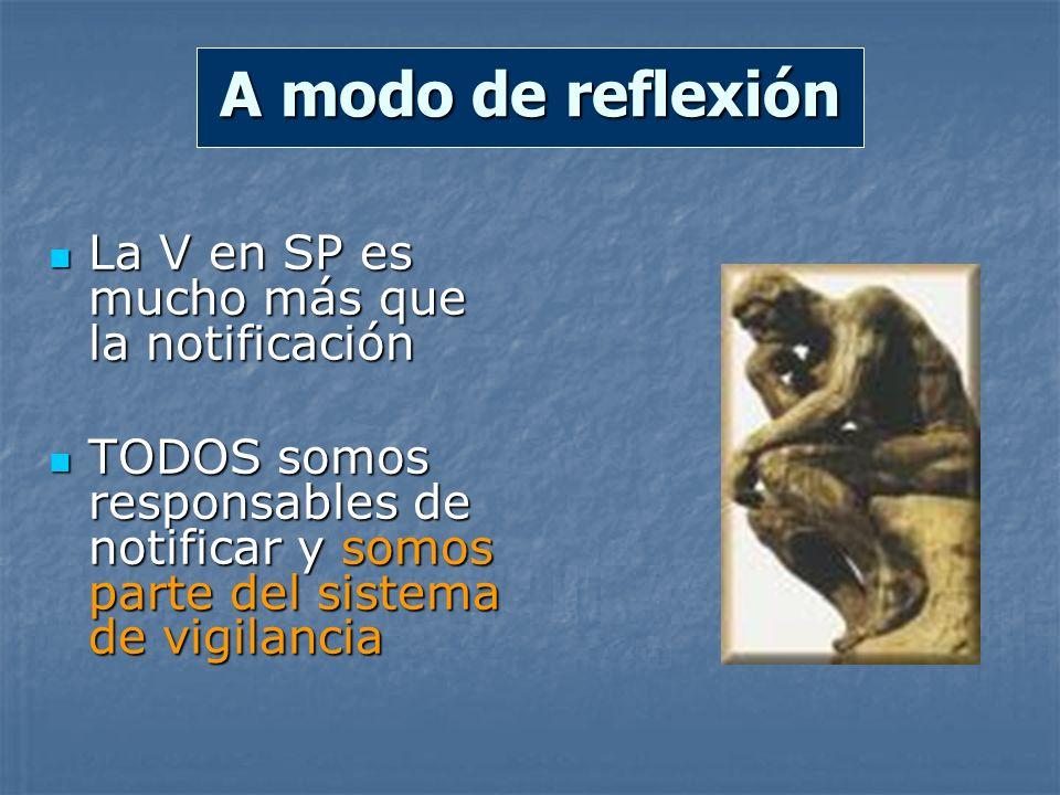 A modo de reflexión La V en SP es mucho más que la notificación La V en SP es mucho más que la notificación TODOS somos responsables de notificar y so