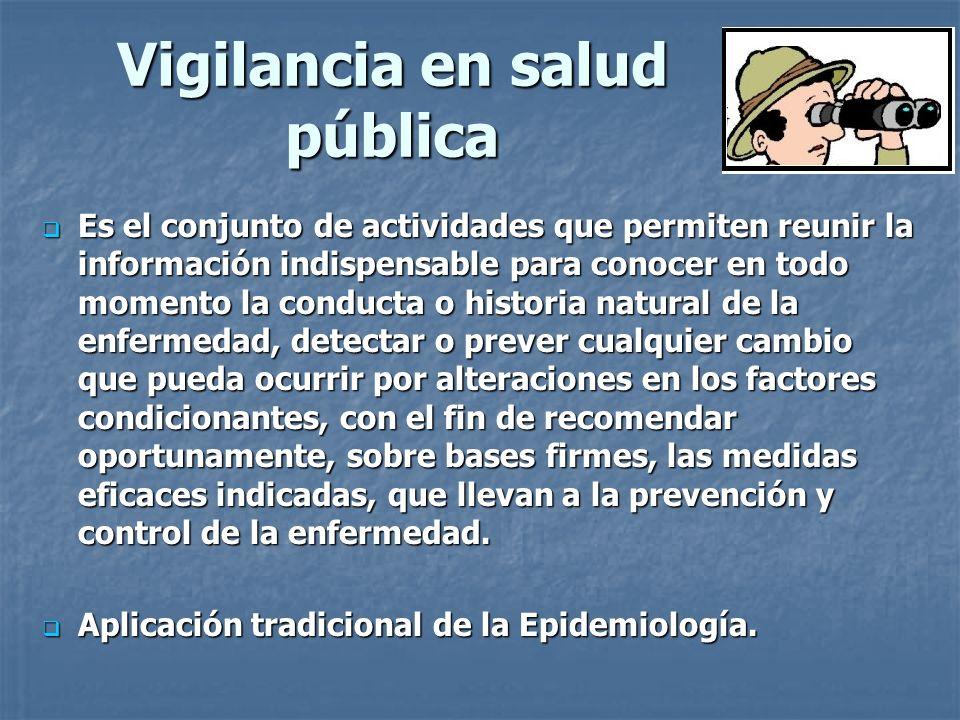 Vigilancia en salud pública Es el conjunto de actividades que permiten reunir la información indispensable para conocer en todo momento la conducta o