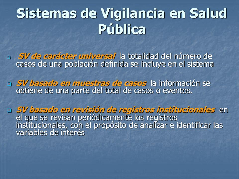 Sistemas de Vigilancia en Salud Pública SV de carácter universal la totalidad del número de casos de una población definida se incluye en el sistema S