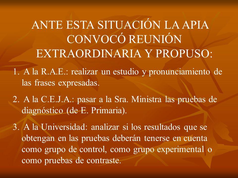 ANTE ESTA SITUACIÓN LA APIA CONVOCÓ REUNIÓN EXTRAORDINARIA Y PROPUSO: 1.