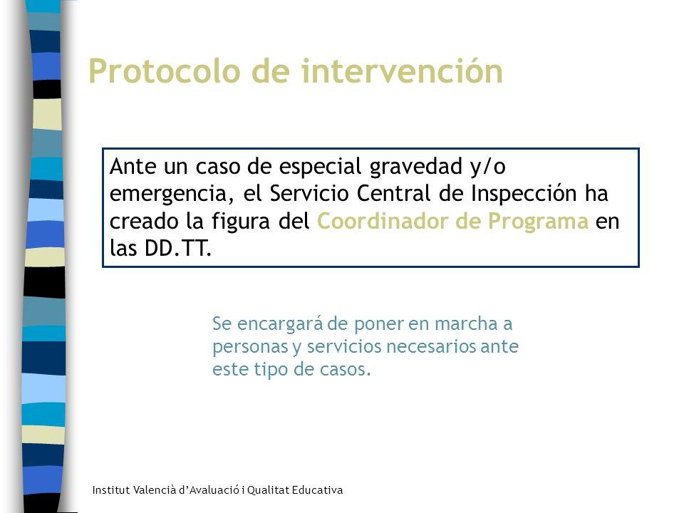 Institut Valencià dAvaluació i Qualitat Educativa Protocolo de intervención Ante un caso de especial gravedad y/o emergencia, el Servicio Central de I