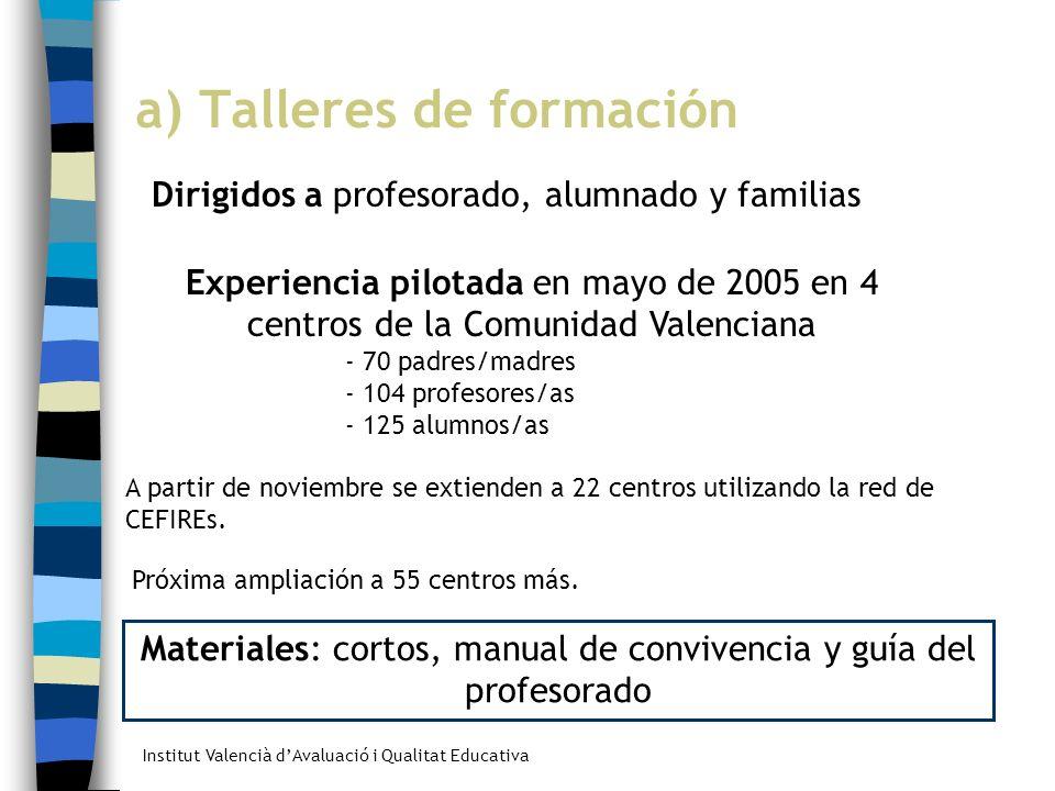 Institut Valencià dAvaluació i Qualitat Educativa a) Talleres de formación Dirigidos a profesorado, alumnado y familias Experiencia pilotada en mayo d