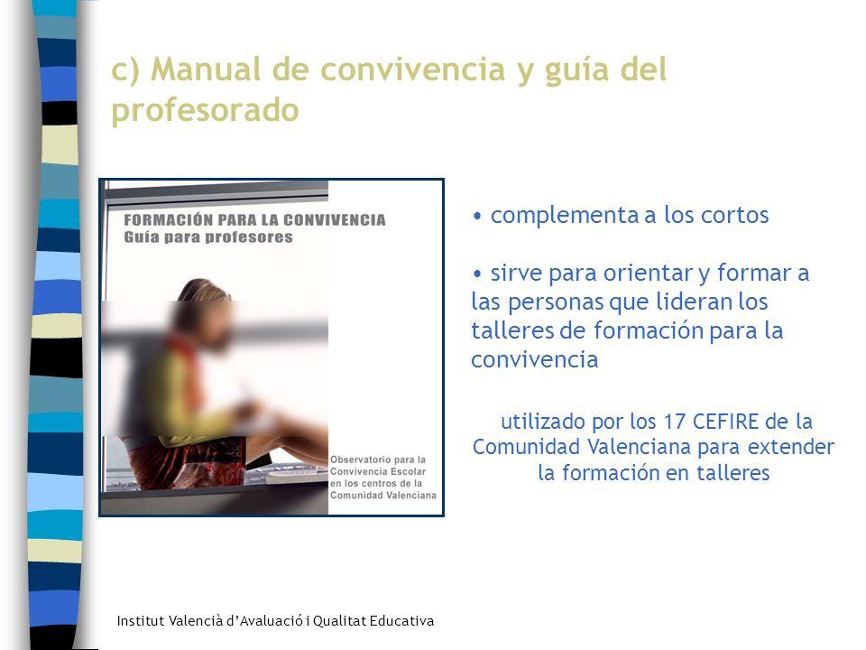 Institut Valencià dAvaluació i Qualitat Educativa c) Manual de convivencia y guía del profesorado complementa a los cortos sirve para orientar y forma
