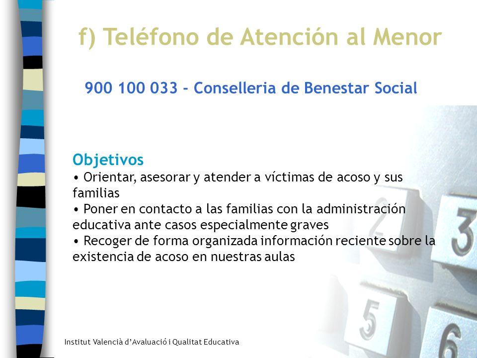 Institut Valencià dAvaluació i Qualitat Educativa f) Teléfono de Atención al Menor 900 100 033 - Conselleria de Benestar Social Objetivos Orientar, as
