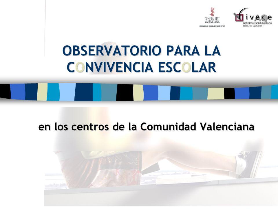 OBSERVATORIO PARA LA CONVIVENCIA ESCOLAR en los centros de la Comunidad Valenciana