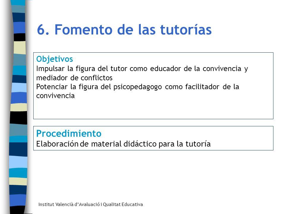 Institut Valencià dAvaluació i Qualitat Educativa 6. Fomento de las tutorías Objetivos Impulsar la figura del tutor como educador de la convivencia y