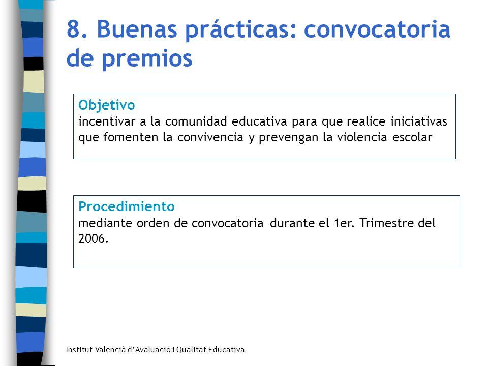 Institut Valencià dAvaluació i Qualitat Educativa 8. Buenas prácticas: convocatoria de premios Objetivo incentivar a la comunidad educativa para que r