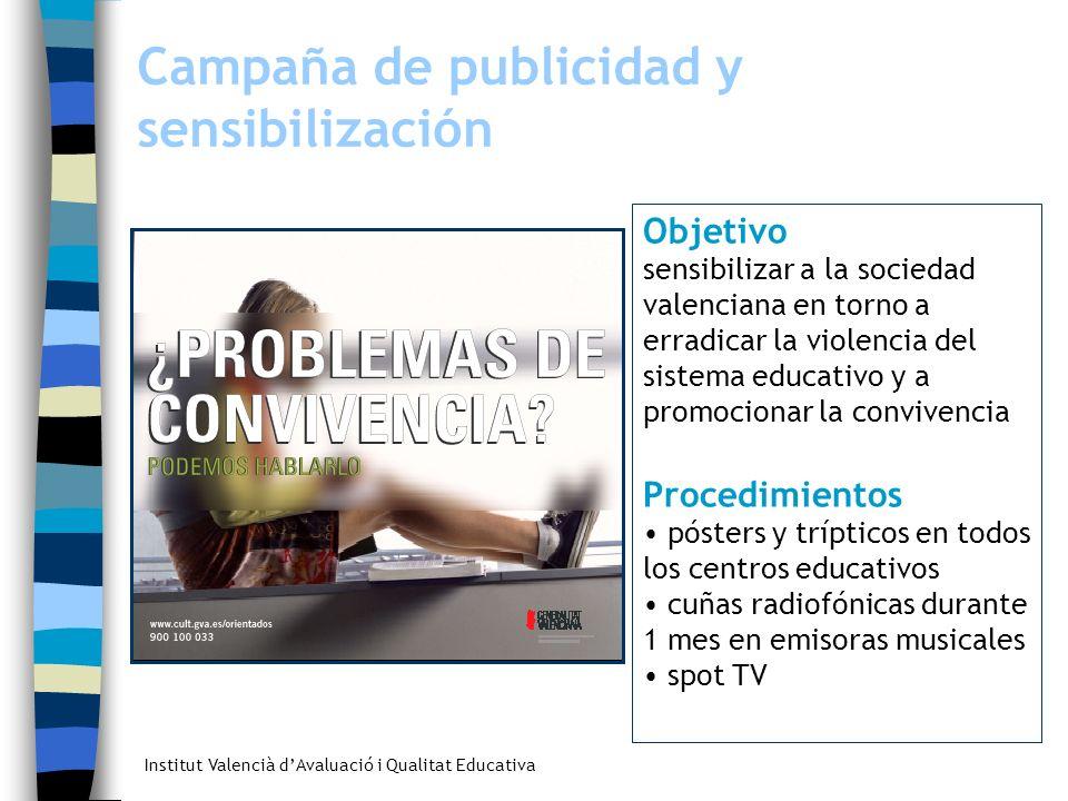 Institut Valencià dAvaluació i Qualitat Educativa Campaña de publicidad y sensibilización Objetivo sensibilizar a la sociedad valenciana en torno a er