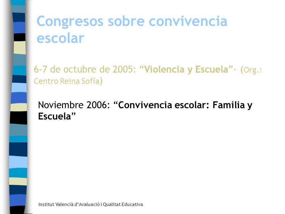 Institut Valencià dAvaluació i Qualitat Educativa Congresos sobre convivencia escolar 6-7 de octubre de 2005: Violencia y Escuela· ( Org.: Centro Rein