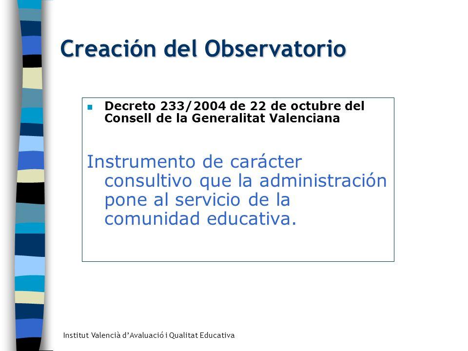 Institut Valencià dAvaluació i Qualitat Educativa Creación del Observatorio Decreto 233/2004 de 22 de octubre del Consell de la Generalitat Valenciana