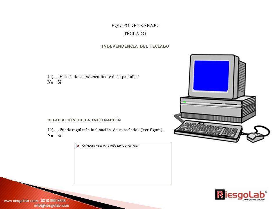 EQUIPO DE TRABAJO TECLADO INDEPENDENCIA DEL TECLADO 14).- ¿El teclado es independiente de la pantalla? No Si REGULACIÓN DE LA INCLINACIÓN 15).- ¿Puede