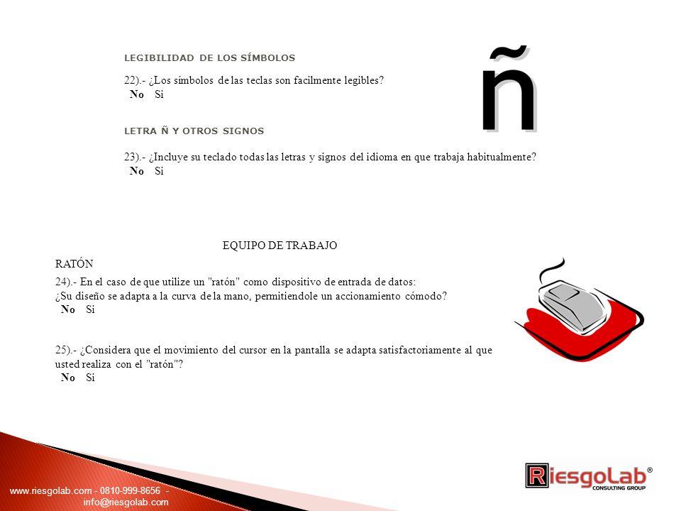 LEGIBILIDAD DE LOS SÍMBOLOS 22).- ¿Los símbolos de las teclas son facilmente legibles.