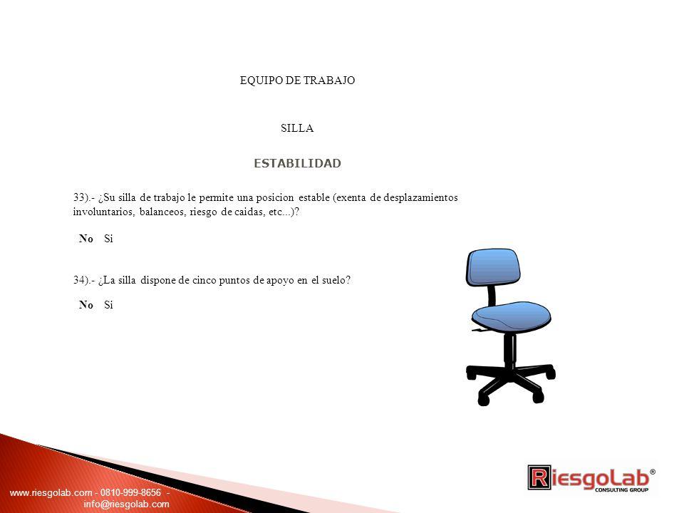EQUIPO DE TRABAJO SILLA ESTABILIDAD 33).- ¿Su silla de trabajo le permite una posicion estable (exenta de desplazamientos involuntarios, balanceos, riesgo de caidas, etc...).