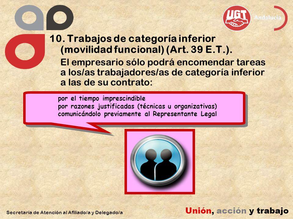 10. Trabajos de categoría inferior (movilidad funcional) (Art.