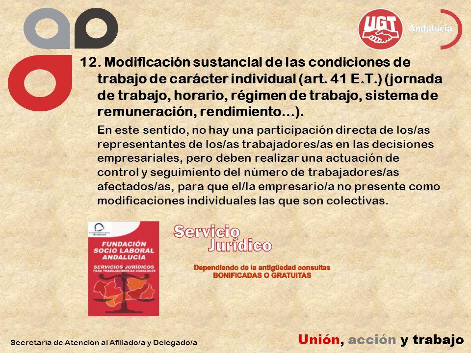 12. Modificación sustancial de las condiciones de trabajo de carácter individual (art.