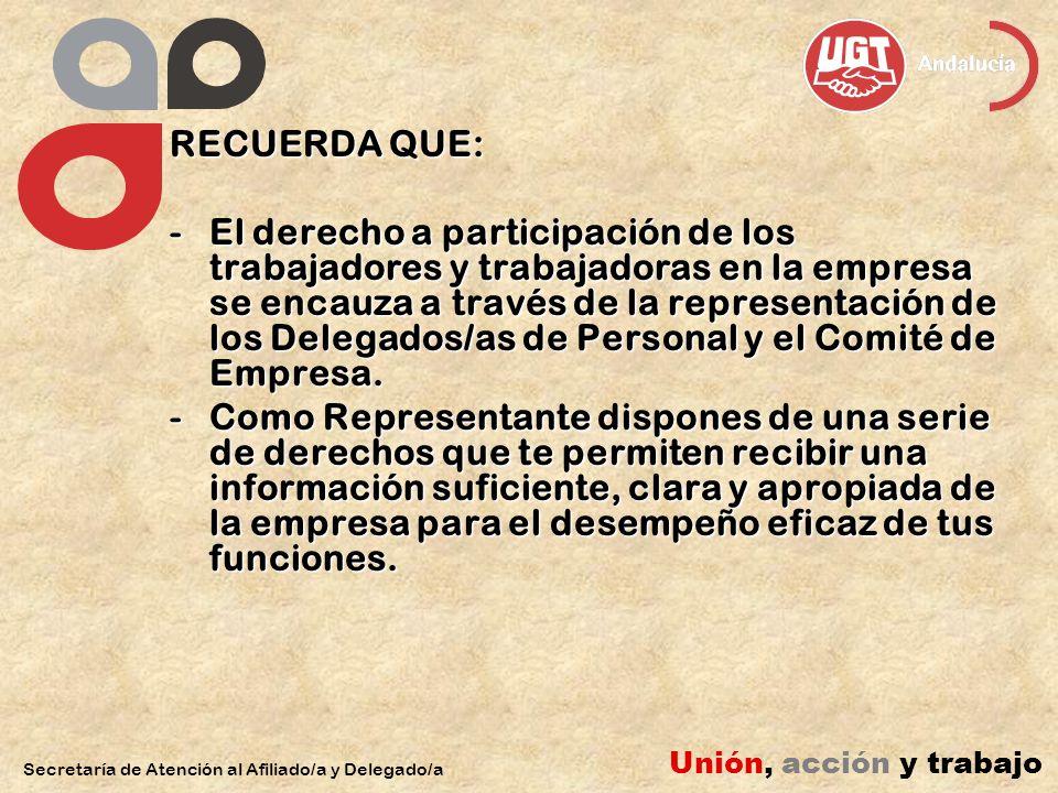 RECUERDA QUE: -El derecho a participación de los trabajadores y trabajadoras en la empresa se encauza a través de la representación de los Delegados/as de Personal y el Comité de Empresa.