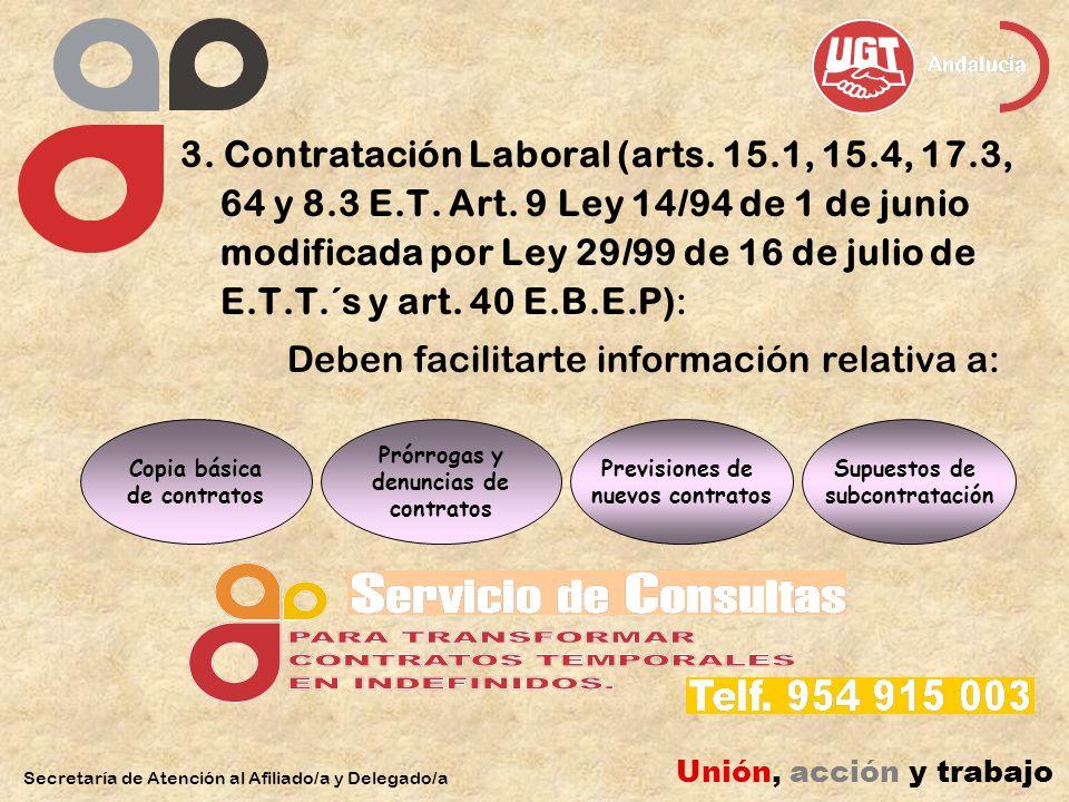 3. Contratación Laboral (arts. 15.1, 15.4, 17.3, 64 y 8.3 E.T.